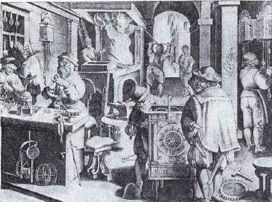 Часовая мастерская в XVI веке